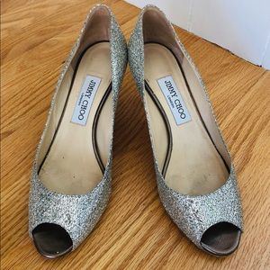Authentic Jimmy Choo Isabel glitter peep toe pumps